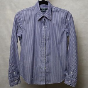 Blue and white stripped button down shirt